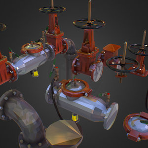constructor water pipes art 3D model