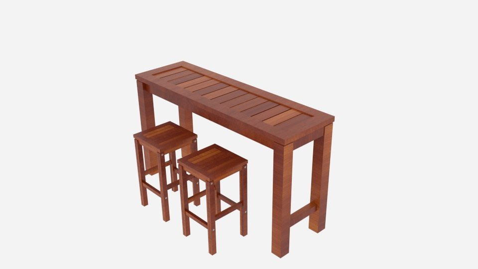3D kwila hayman bar table model