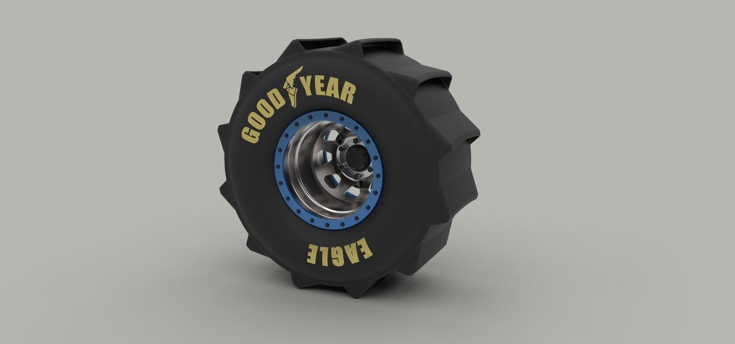 wheel drag mud 3D