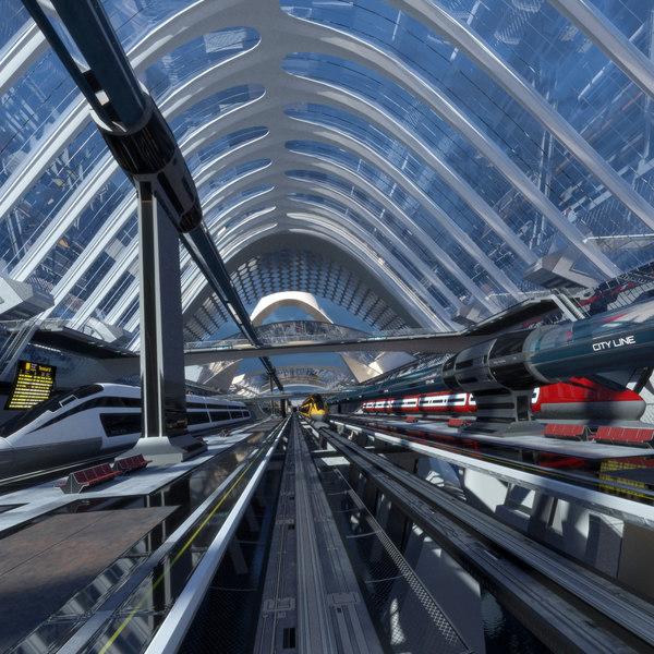 3D model pbr transport hub train