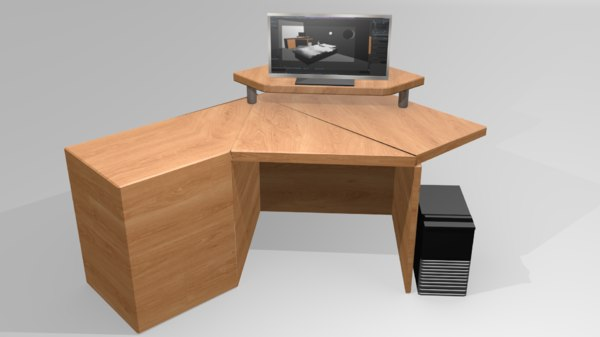 desk computer table monitor 3D model