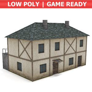 medieval townhouse town 3D