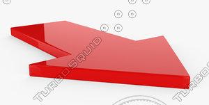 red plastic arrow 3D model