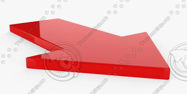 red plastic arrow 3D model