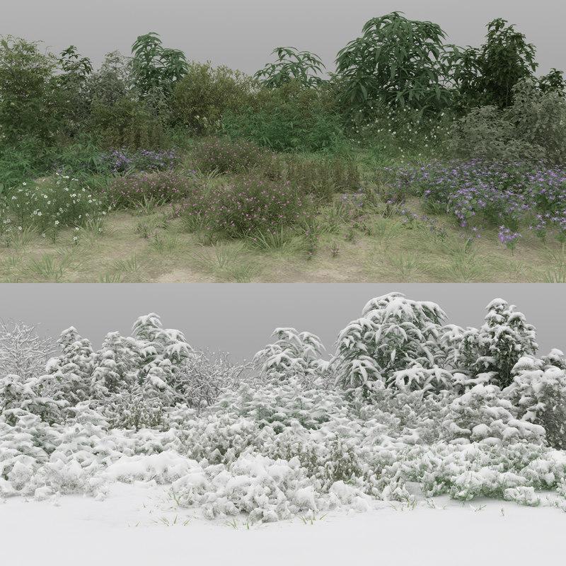 3D 30 wild bushes