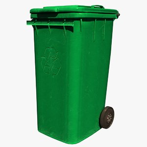 trash bin green 3D model