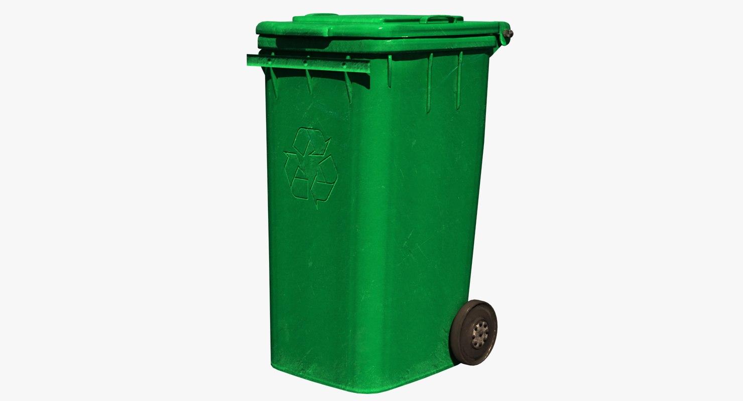 trash bin green 3D model