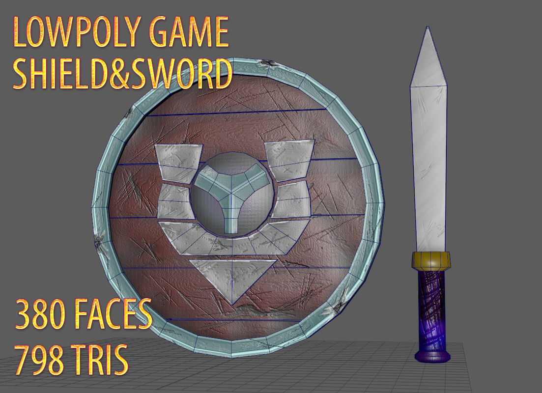 3D shield sword games model