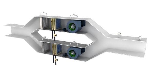 3D ahu duel duct supply model