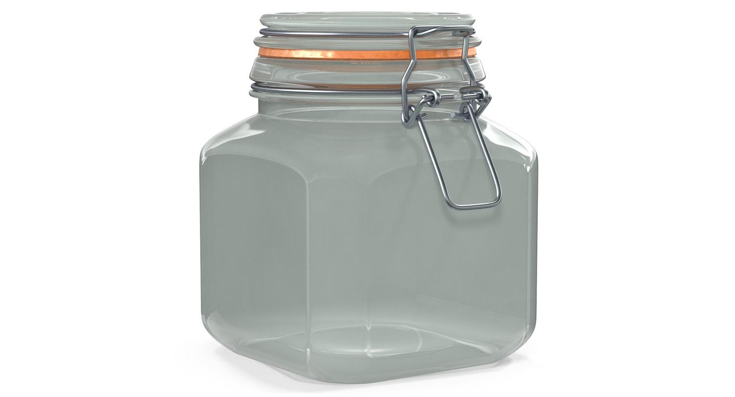 3D glass jar lock 04 model