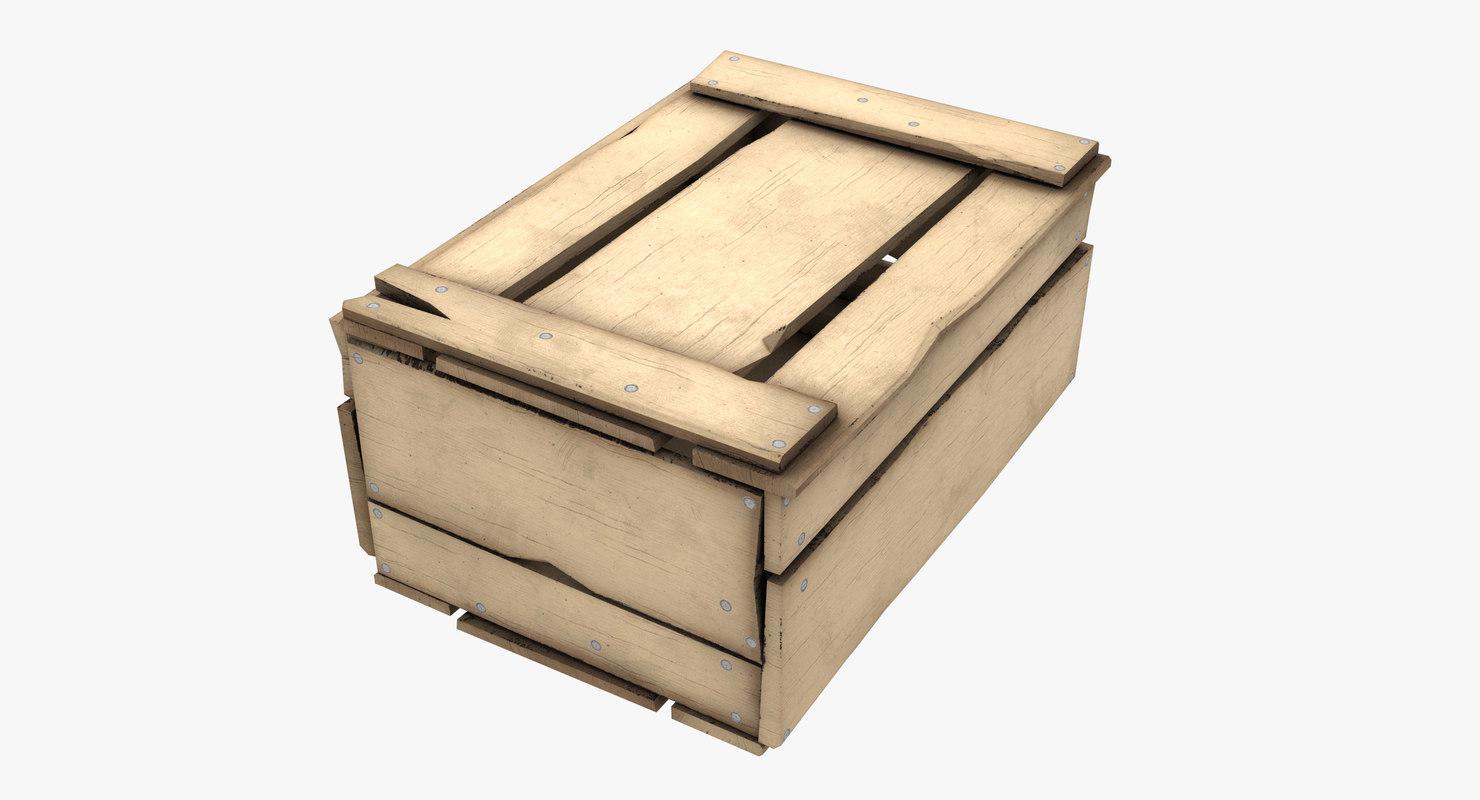 3D wood box model