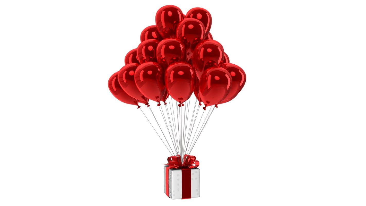 gift box balloons 3D model