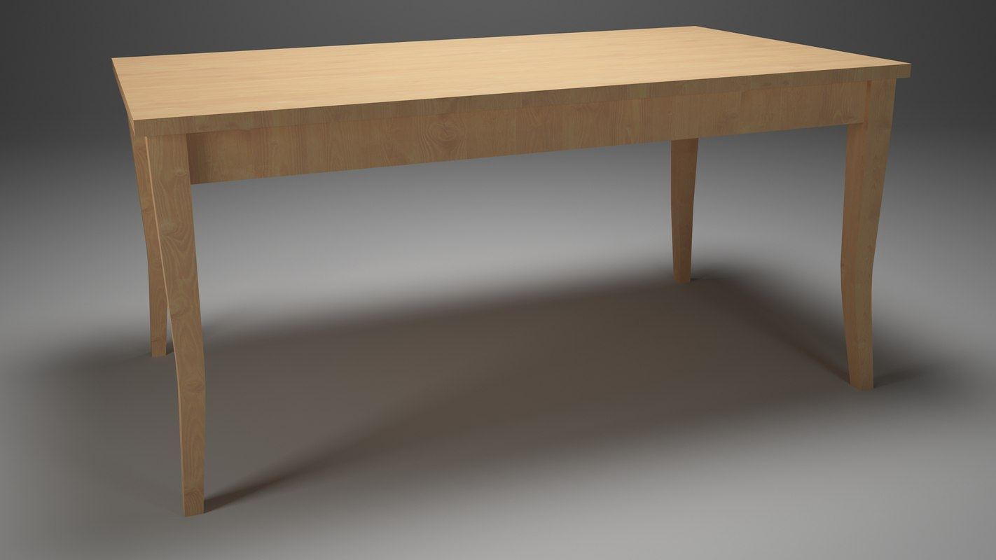 simple table kitchen dining room 3D model