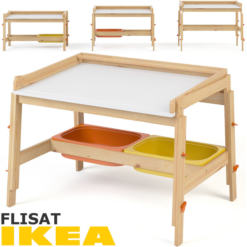 3d ikea flisat child desk model turbosquid 1270132