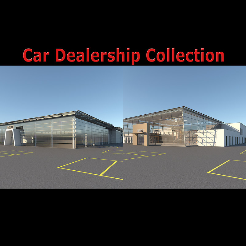 3D car dealership building interior