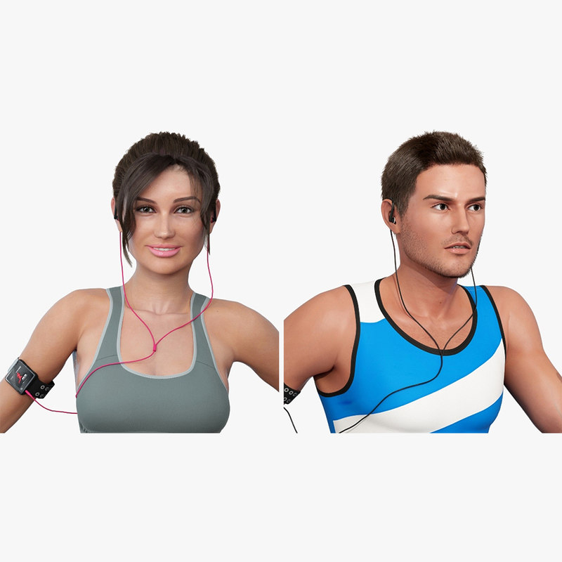 athlete character female 3D