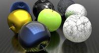 3D apples different materials model