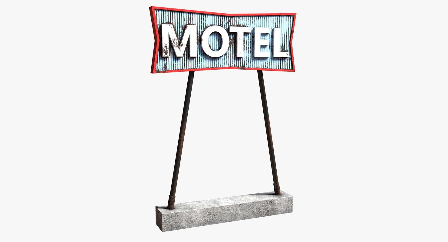 3D model realistic motel sign ready