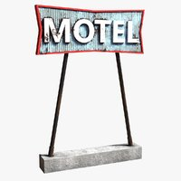3D model realistic motel sign ready