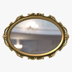 classical mirror baroque style interior 3D model