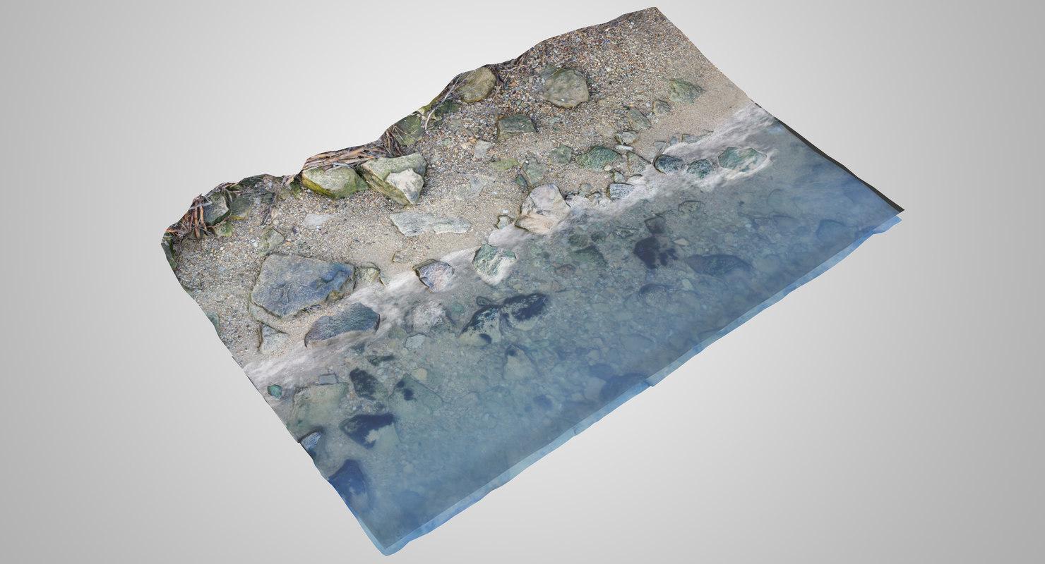 3D model piese stone shore