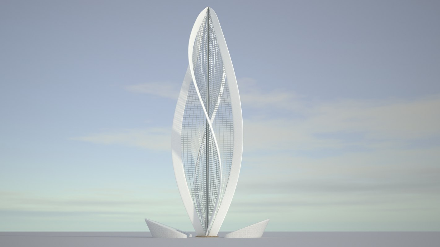 3D realistic flower tower architecture