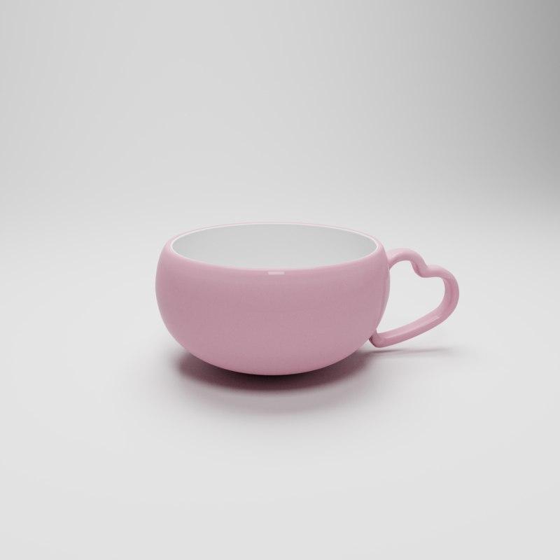 3D model pink mug heart