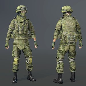 3D soldier games model
