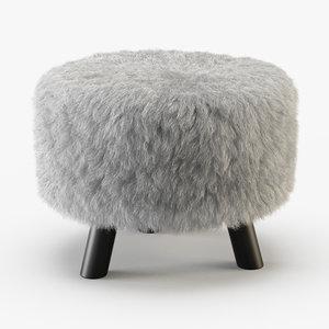 3D wool keomi flokati ottoman model
