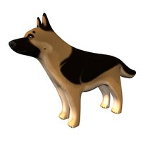 german shepherd dog figurine 3D model