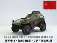BA 64 armored scout car low poly
