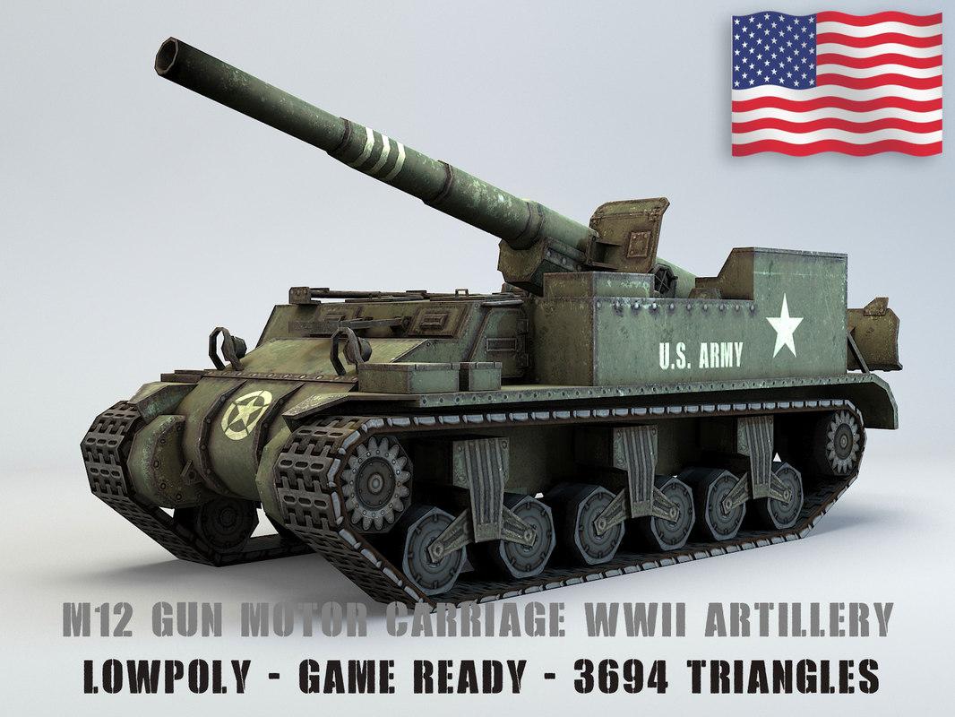 3D model m12 gun motor carriage