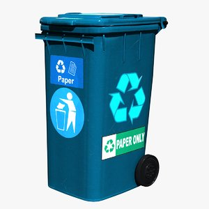 3D trash bin blue paper