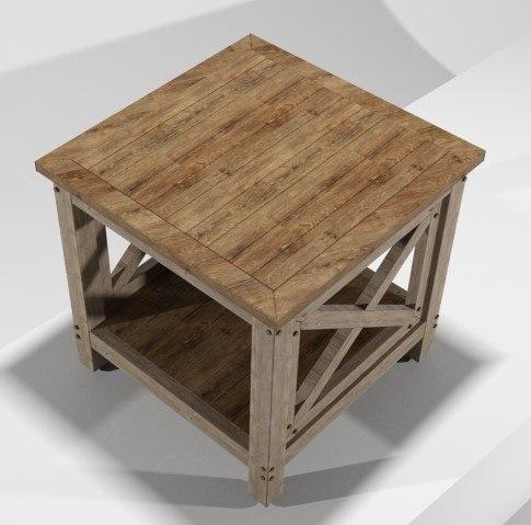 rustic end table 3D model