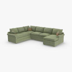 3D model classical-sectional-sofa