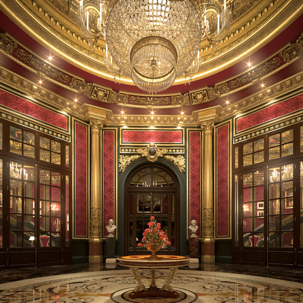 3D model classical scene entrance lobby