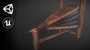 medieval blacksmith bellows 3D