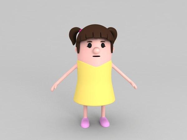 daughter character cartoon 3D
