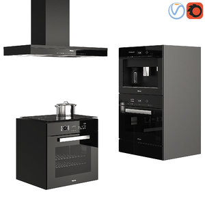 3D set kitchen appliances miele
