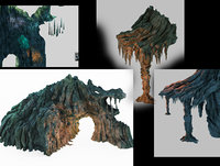 3D cave rock mountain mount