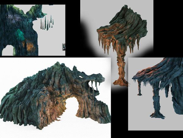 3D cave rock mountain mount