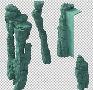 3D cave rock mountain mount model