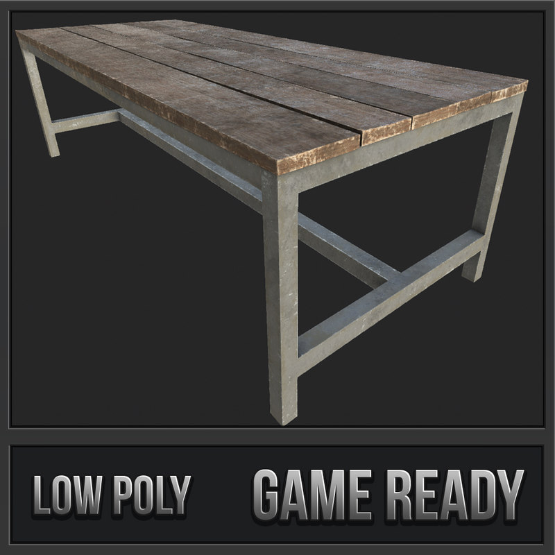 wooden table 4 pbr 3D