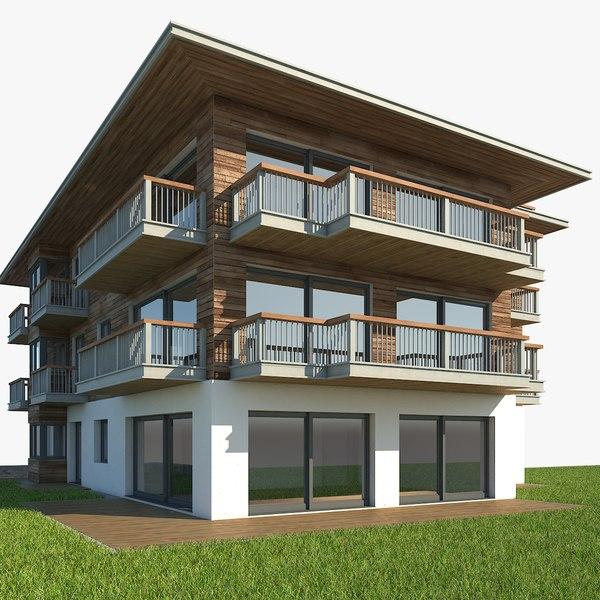 3D tyrolean apartment building model