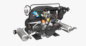 3D model flat engine