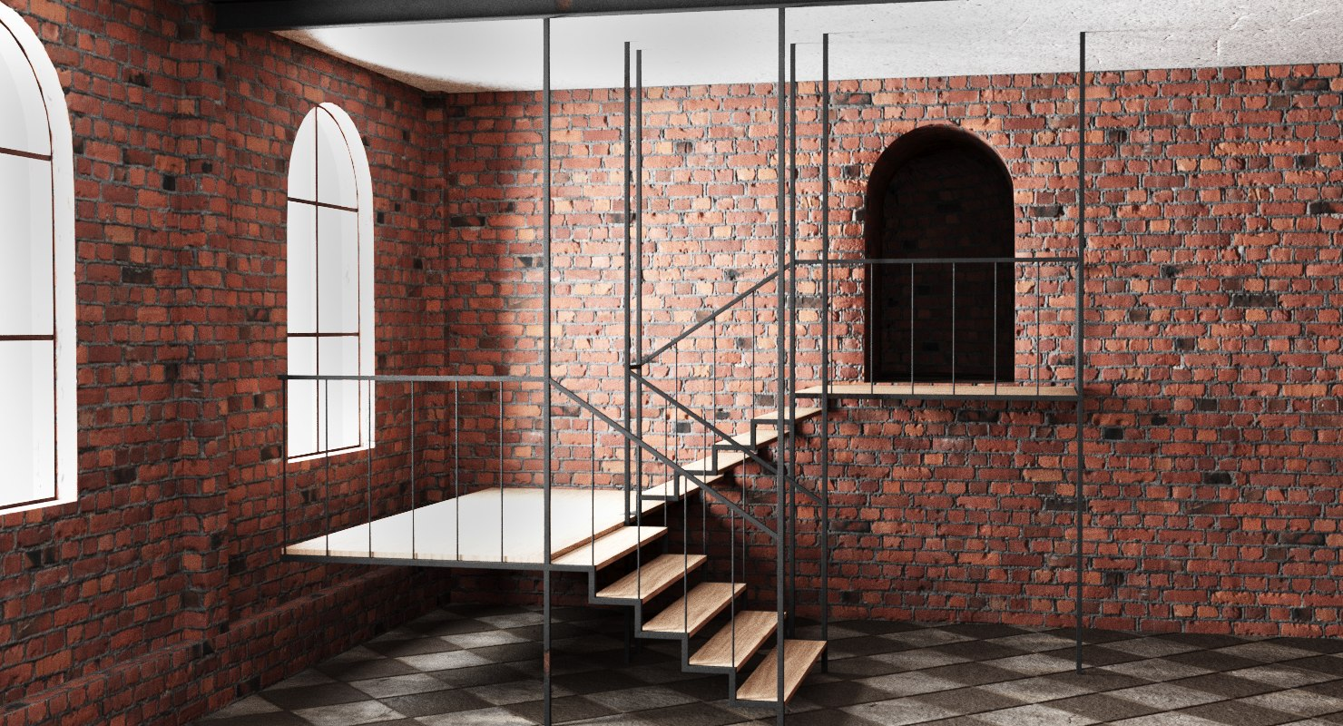 premises brick wall interior exterior 3D model