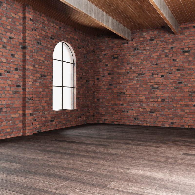3D model brick wall house interior