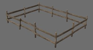 3D wooden fence 1a