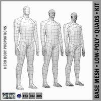 Male Hero Body Base Mesh in Rest Pose