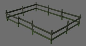 wooden fence 1b 3D